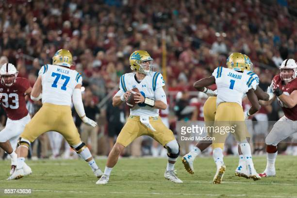 Josh Rosen of the UCLA Bruins attempts a pass during an NCAA Pac12 football game against the Stanford Cardinal on September 23 2017 at Stanford...