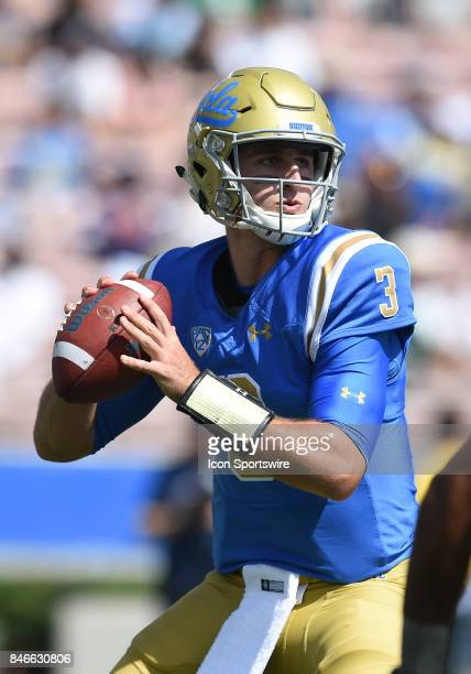 Josh Rosen prepares to pass during a college football game between the Hawai'i Rainbow Warriors and the UCLA Bruins on September 09 2017 at the Rose...