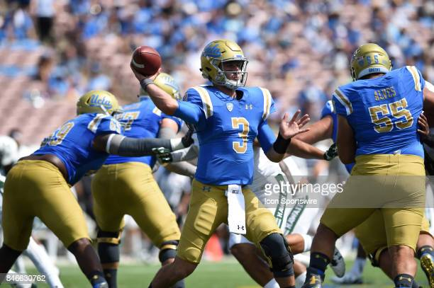 Josh Rosen throws a pass during a college football game between the Hawai'i Rainbow Warriors and the UCLA Bruins on September 09 2017 at the Rose...