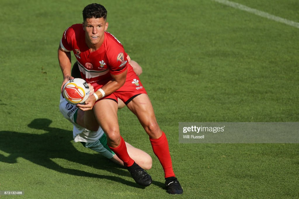 Josh Routh of Wales passes the ball during the 2017 Rugby League World Cup match between Wales and Ireland at nib Stadium on November 12, 2017 in Perth, Australia.