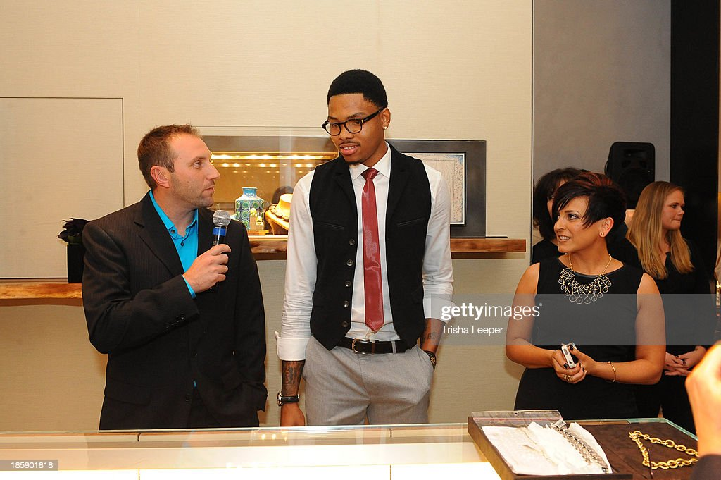 Josh Russell, Kent Bazemore and Katie Mancuso attend the David Yurman Launches The Meteorite Collection With Kent Bazemore at Westfield Valley Fair on October 25, 2013 in Santa Clara, California.