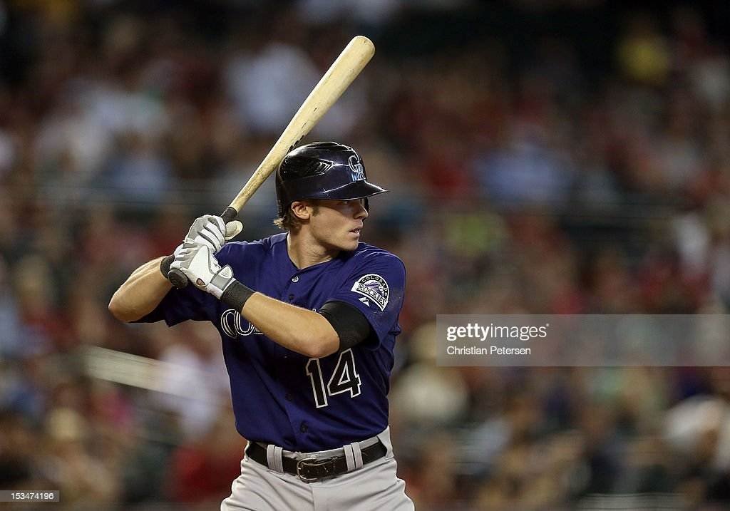 <a gi-track='captionPersonalityLinkClicked' href=/galleries/search?phrase=Josh+Rutledge&family=editorial&specificpeople=9541486 ng-click='$event.stopPropagation()'>Josh Rutledge</a> #14 of the Colorado Rockies bats against the Arizona Diamondbacks during the MLB game at Chase Field on October 3, 2012 in Phoenix, Arizona.