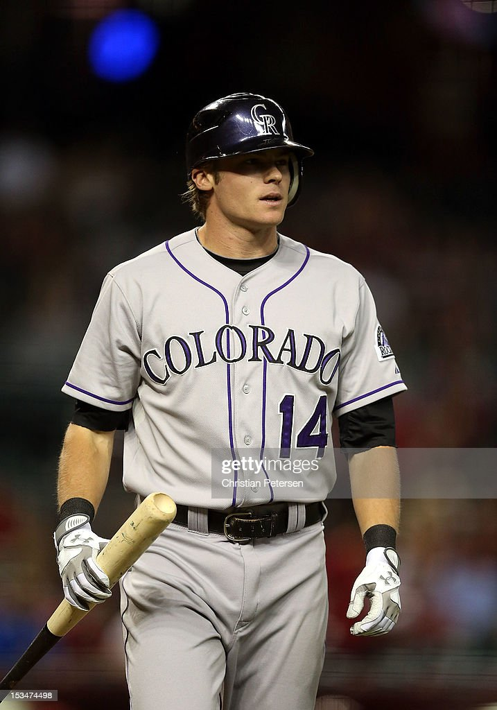 <a gi-track='captionPersonalityLinkClicked' href=/galleries/search?phrase=Josh+Rutledge&family=editorial&specificpeople=9541486 ng-click='$event.stopPropagation()'>Josh Rutledge</a> #14 of the Colorado Rockies bats against the Arizona Diamondbacks during the MLB game at Chase Field on October 2, 2012 in Phoenix, Arizona. The Diamondbacks defeated the Rockies 5-3.