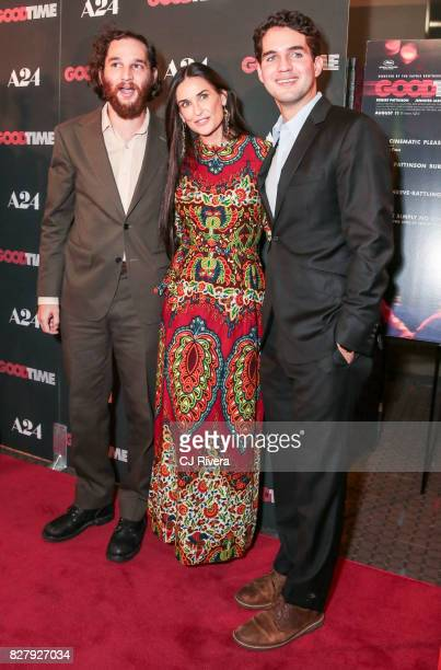 Josh Safdie Demi Moore and Benny Safdie attend the New York premiere of 'Good Time' at SVA Theater on August 8 2017 in New York City