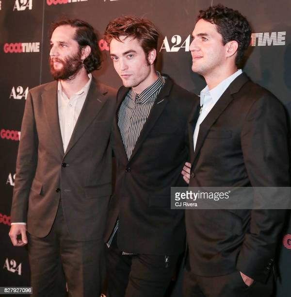 Josh Safdie Robert Pattinson and Benny Safdie attend the New York premiere of 'Good Time' at SVA Theater on August 8 2017 in New York City