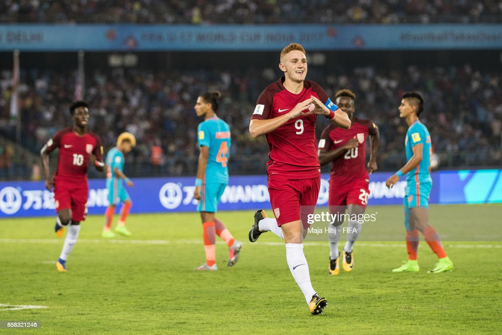 Josh Sargent of USA celebrates after scoring from the penalty spot to make it 0-1 during the FIFA U-17 World Cup India 2017 group A match between India and USA at Jawaharlal Nehru Stadium on October 6, 2017 in New Delhi, India.