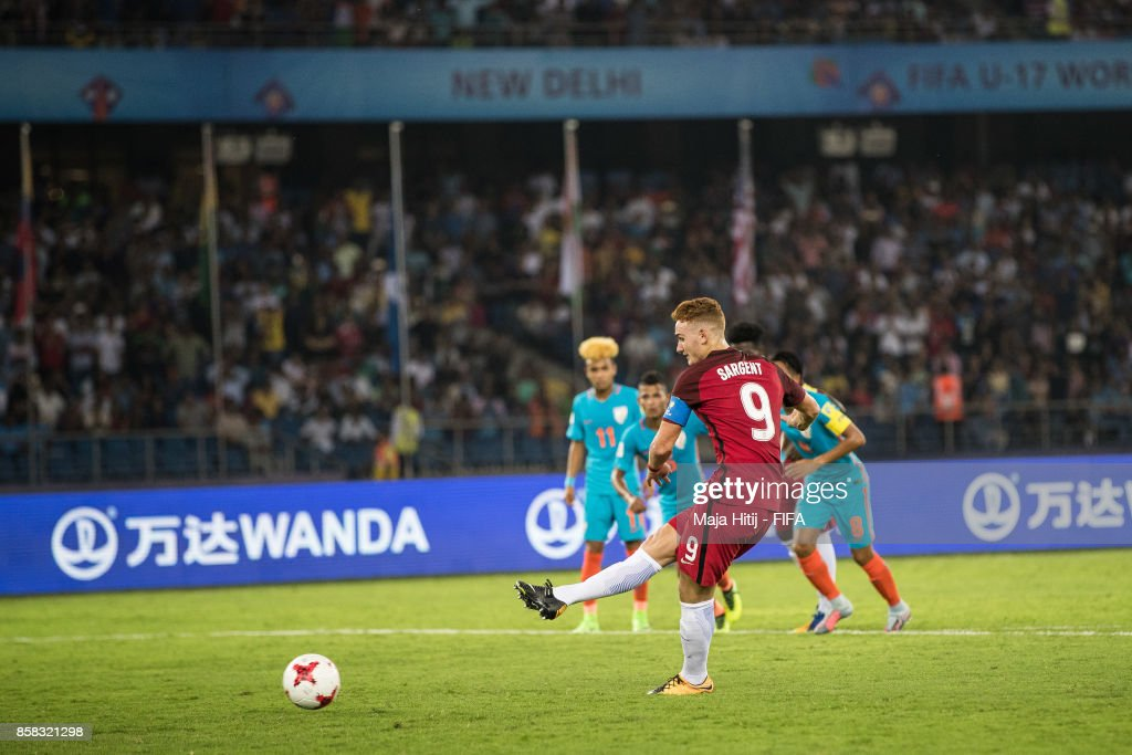 Josh Sargent of USA scores from the penalty spot to make it 0-1 during the FIFA U-17 World Cup India 2017 group A match between India and USA at Jawaharlal Nehru Stadium on October 6, 2017 in New Delhi, India.