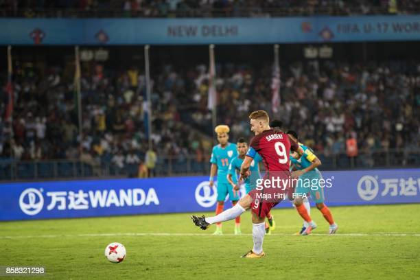 Josh Sargent of USA scores from the penalty spot to make it 01 during the FIFA U17 World Cup India 2017 group A match between India and USA at...