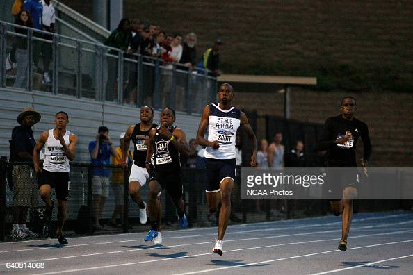 Josh Scott of St Augustine's College races to a victory in the 200 meter dash during the Division II Men's and Women's Track and Field Championship...