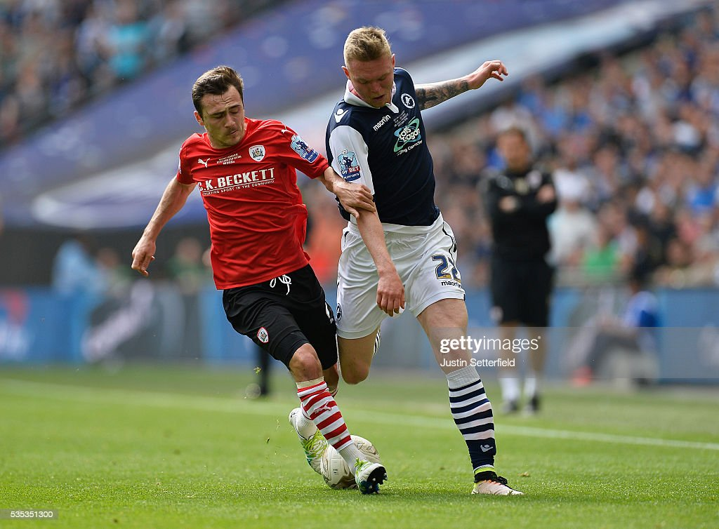 Josh Scowen of Barnsley FC and Aiden O'Brien of Millwall FC during the Sky Bet League One Play Off Final between Barnsley and Millwall at Wembley Stadium on May 29, 2016 in London, England.