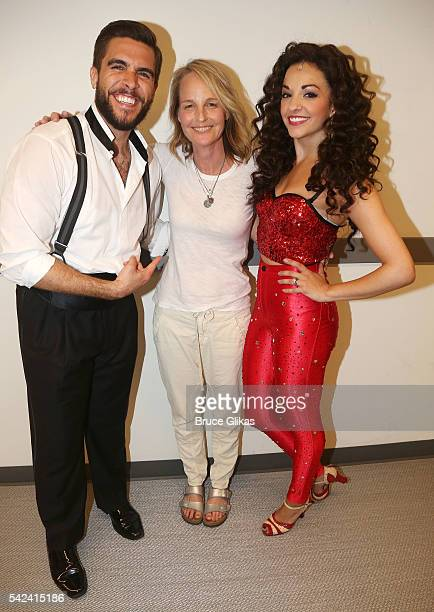 Josh Segarra as 'Emilio Estefan' Helen Hunt and Ana Villafane as 'Gloria Estefan' pose backstage at the hit Gloria Estefan Emilio Estefan musical 'On...