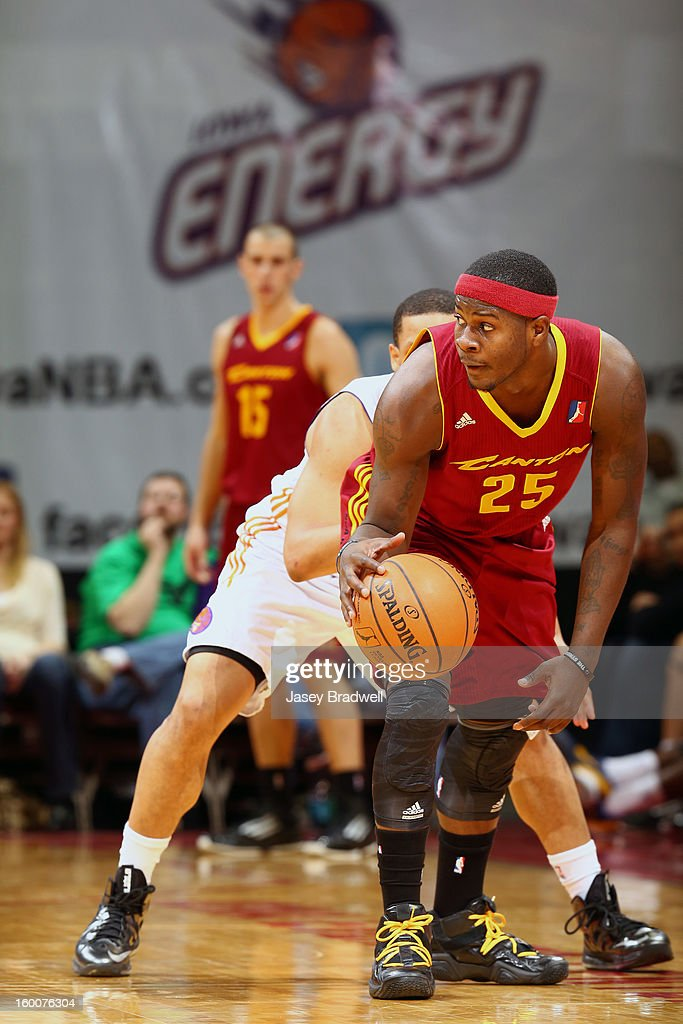 Josh Selby #25 of the Canton Charge defends the ball against Vance Cooksey #4 of the Iowa Energy in an NBA D-League game on January 25, 2013 at the Wells Fargo Arena in Des Moines, Iowa.