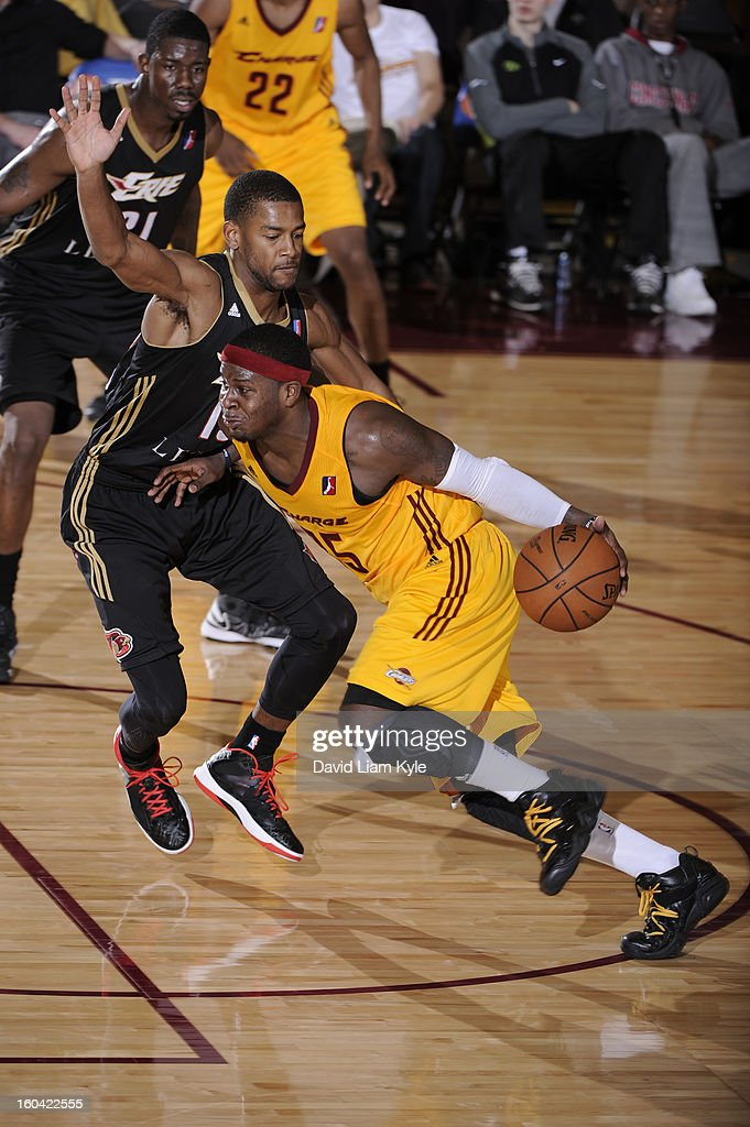 <a gi-track='captionPersonalityLinkClicked' href=/galleries/search?phrase=Josh+Selby&family=editorial&specificpeople=6902823 ng-click='$event.stopPropagation()'>Josh Selby</a> #25 of the Canton Charge drives to the hoop against Cory Higgins #13 of the Erie BayHawks at the Canton Memorial Civic Center on January 30, 2013 in Canton, Ohio.