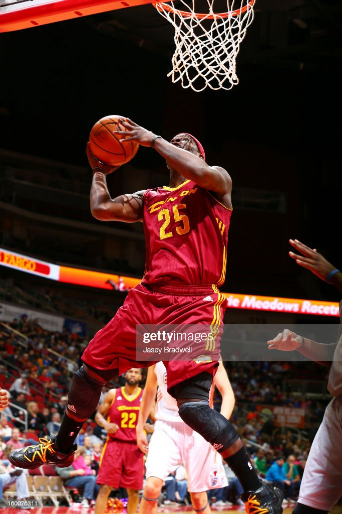 Josh Selby #25 of the Canton Charge flies in for a layup against the Iowa Energy in an NBA D-League game on January 25, 2013 at the Wells Fargo Arena in Des Moines, Iowa.
