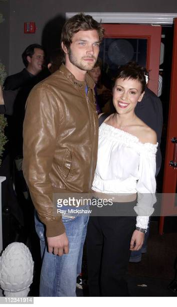 Josh Shambaugh and Alyssa Milano during Ministry of Sound Europe's Brand Hosts Launch of Fatboy Slim's Album 'Live on Brighton Beach' at Maison 140...