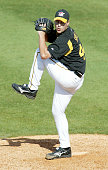 Josh Sharpless of the Pittsburgh Pirates pitches during the game against the Boston Red Sox v Pittsburgh Pirates on March 11 2006 at McKechnie Field...