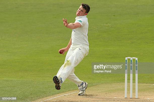 Josh Shaw of Gloucestershire in action bowling during day two of the Specsavers County Championship match between Essex and Gloucestershire at the...