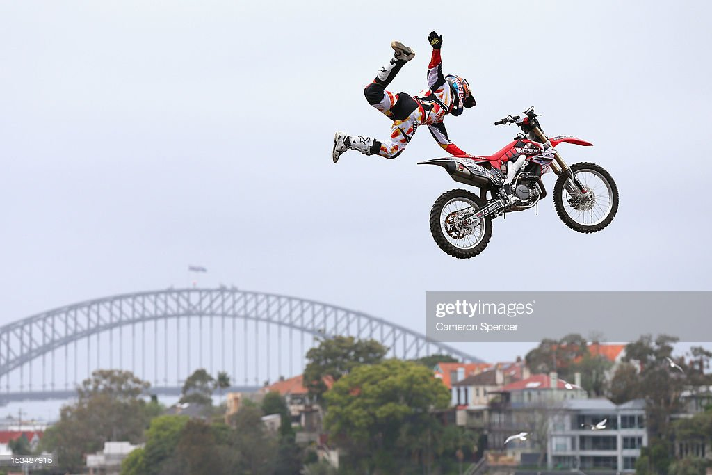 Josh Sheehan of Australia competes in the Red Bull X-Fighters Moto Cross at Cockatoo Island on October 6, 2012 in Sydney, Australia.
