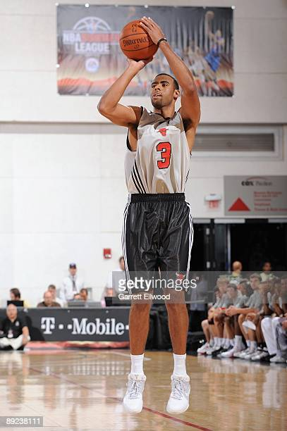 Josh Shipp of the Chicago Bulls shoots against the Milwaukee Bucks during NBA Summer League presented by EA Sports on July 15 2009 at Cox Pavilion in...
