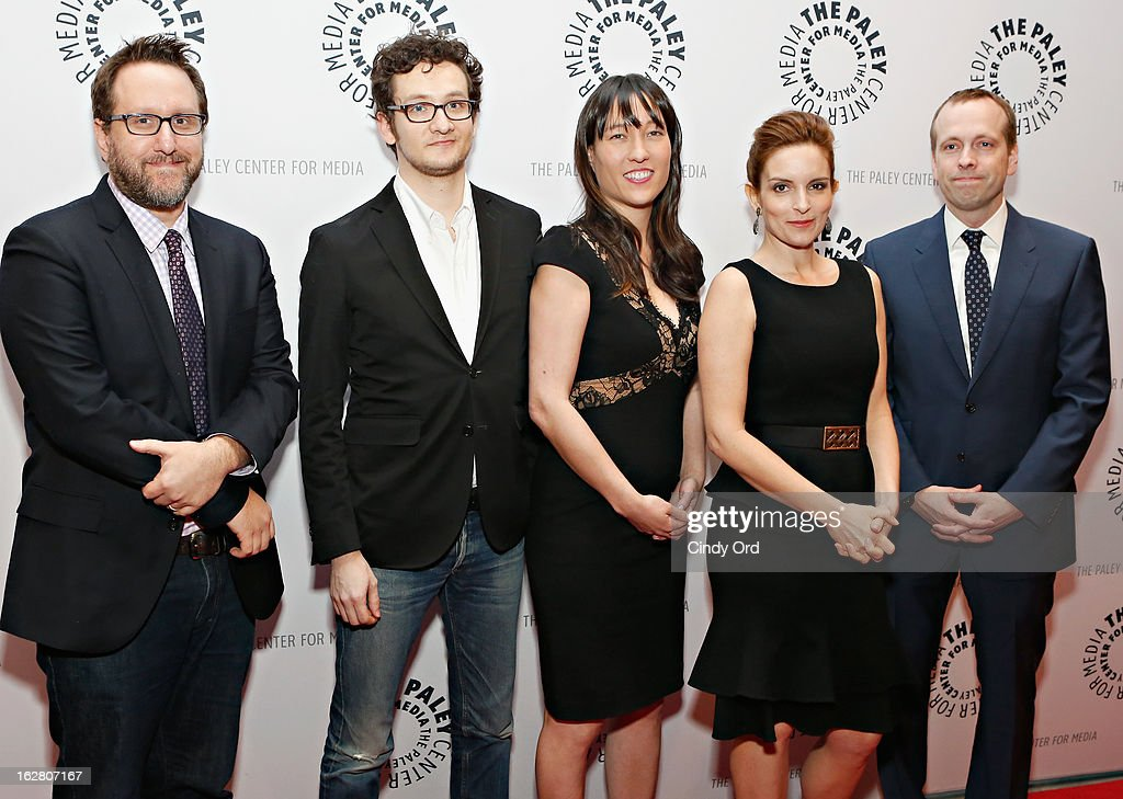 Josh Siegal, Dylan Morgan, Colleen McGuinness, <a gi-track='captionPersonalityLinkClicked' href=/galleries/search?phrase=Tina+Fey&family=editorial&specificpeople=206753 ng-click='$event.stopPropagation()'>Tina Fey</a> and Robert Carlock attend The Paley Center for Media Presents: 'Hey Dummies: An Evening With The 30 Rock Writers' at The Paley Center for Media on February 27, 2013 in New York City.