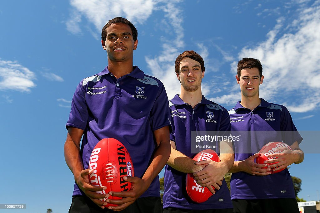 Josh Simpson, Max Duffy and Tanner Smith pose during a Fremantle Dockers AFL pre-season media session at Fremantle Oval on November 26, 2012 in Fremantle, Australia.