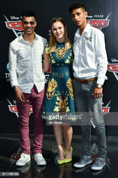 Josh SinclairEvans Mia Jenkins and Jayden Revri attend the 'CARS 3' Charity Gala Screening at Vue Westfield on July 9 2017 in London England