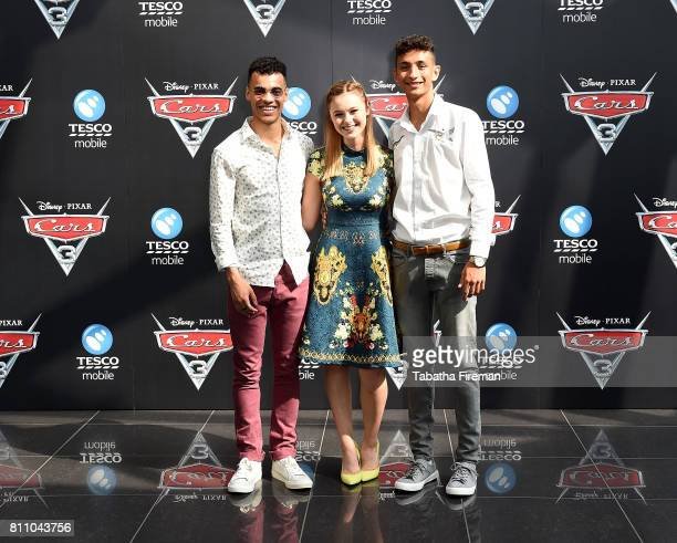 Josh SinclairEvans Mia Jenkins and Jayden Revri attend the charity gala screening of 'Cars 3' at Vue Westfield on July 9 2017 in London England