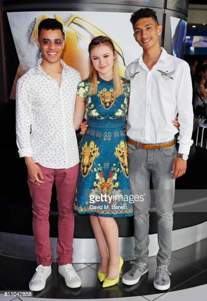 Josh SinclairEvans Mia Jenkins and Jayden Revri attends the 'Cars 3' charity gala screening at Vue Westfield on July 9 2017 in London England