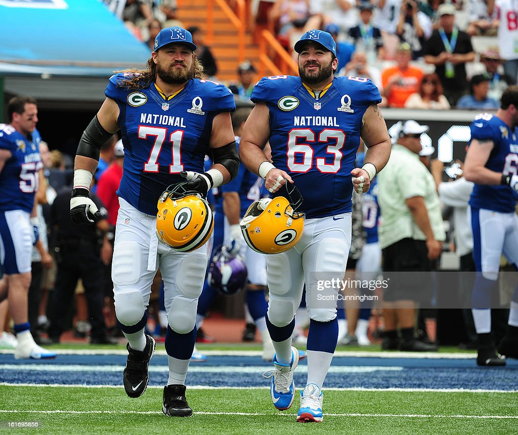 Josh Sitton #71 and Jeff Saturday #63 of the Green Bay Packers and the NFC are introduced before the 2013 Pro Bowl against the American Football Conference team at Aloha Stadium on January 27, 2013 in Honolulu, Hawaii