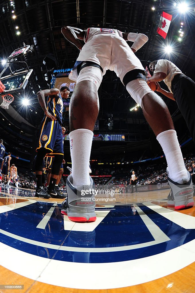 <a gi-track='captionPersonalityLinkClicked' href=/galleries/search?phrase=Josh+Smith+-+Basketball+Player+-+Born+1985&family=editorial&specificpeople=201983 ng-click='$event.stopPropagation()'>Josh Smith</a> #5 of the Atlanta Hawks about to inbound the ball against the Indiana Pacers at Philips Arena on November 7, 2012 in Atlanta, Georgia.