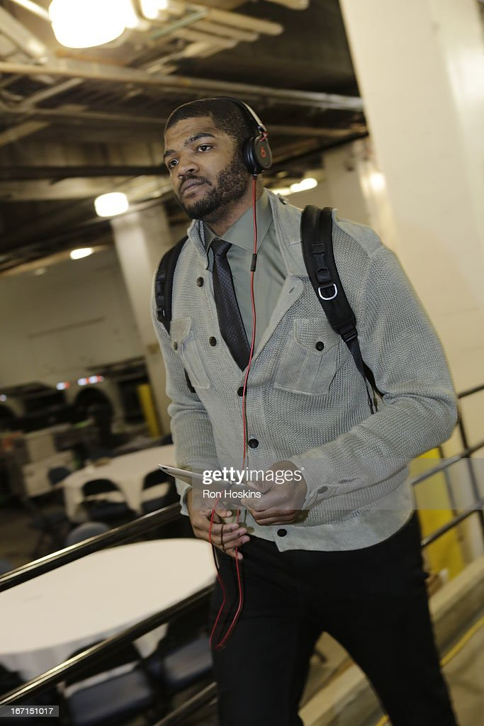 Josh Smith #5 of the Atlanta Hawks arrives at the Game One of the Eastern Conference Quarterfinals between the Indiana Pacers and the Atlanta Hawks on April 21, 2013 at Bankers Life Fieldhouse in Indianapolis, Indiana.