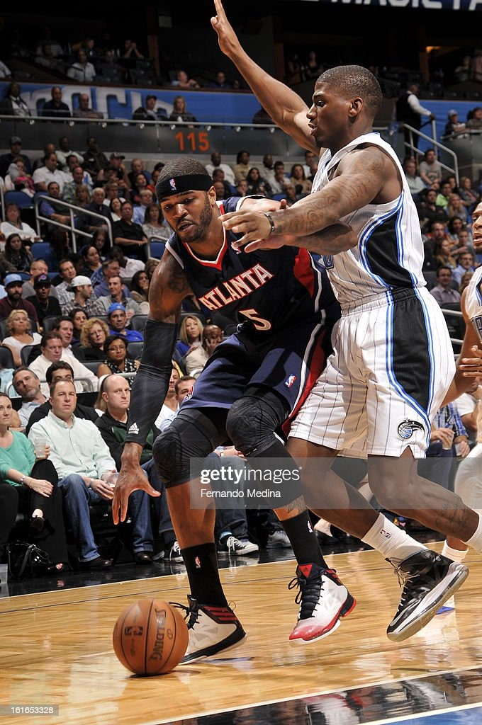 Josh Smith #5 of the Atlanta Hawks drives to the basket against the Orlando Magic during the game on February 13, 2013 at Amway Center in Orlando, Florida.