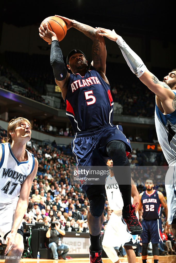 Josh Smith #5 of the Atlanta Hawks goes up for the basket against the Minnesota Timberwolves during the game on January 8, 2013 at Target Center in Minneapolis, Minnesota.