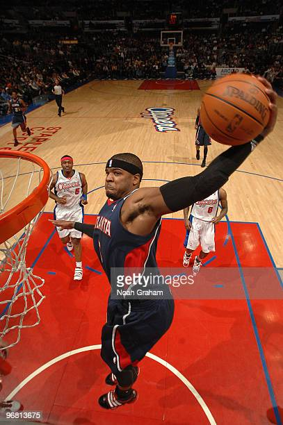 Josh Smith of the Atlanta Hawks goes up to throw down a dunk against the Los Angeles Clippers at Staples Center on February 17 2010 in Los Angeles...