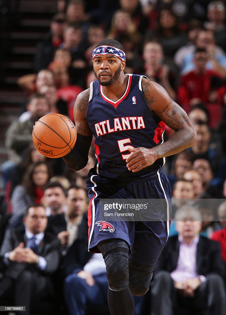 <a gi-track='captionPersonalityLinkClicked' href=/galleries/search?phrase=Josh+Smith+-+Basketball+Player+-+Born+1985&family=editorial&specificpeople=201983 ng-click='$event.stopPropagation()'>Josh Smith</a> #5 of the Atlanta Hawks handles the ball against the Portland Trail Blazers on November 12, 2012 at the Rose Garden Arena in Portland, Oregon.