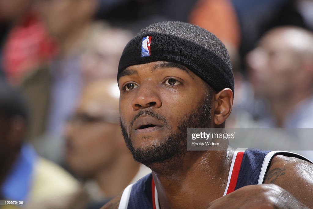 <a gi-track='captionPersonalityLinkClicked' href=/galleries/search?phrase=Josh+Smith+-+Basketball+Player+-+Born+1985&family=editorial&specificpeople=201983 ng-click='$event.stopPropagation()'>Josh Smith</a> #5 of the Atlanta Hawks in a game against the Golden State Warriors on November 14, 2012 at Oracle Arena in Oakland, California.