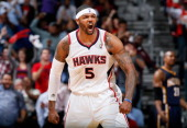 Josh Smith of the Atlanta Hawks reacts after a basket in the final minutes of their 10291 win over the Indiana Pacers during Game Four of the Eastern...