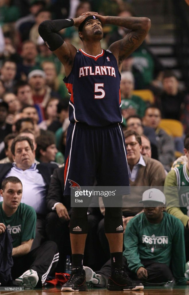 Josh Smith #5 of the Atlanta Hawks reacts after a foul is called against him in the second half against the Boston Celtics on December 16, 2010 at the TD Garden in Boston, Massachusetts. The Celtics defeated the Hawks 102-90.