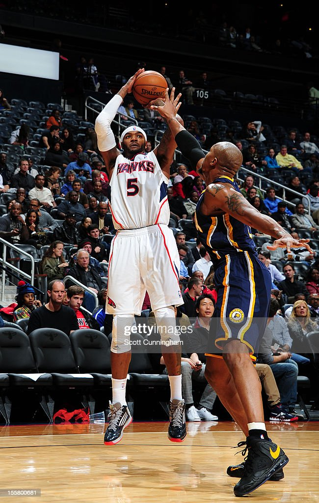 <a gi-track='captionPersonalityLinkClicked' href=/galleries/search?phrase=Josh+Smith+-+Basketball+Player+-+Born+1985&family=editorial&specificpeople=201983 ng-click='$event.stopPropagation()'>Josh Smith</a> #5 of the Atlanta Hawks shoots against the Indiana Pacers at Philips Arena on November 7, 2012 in Atlanta, Georgia.