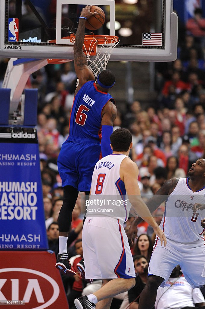 Josh Smith #6 of the Detroit Pistons attempts a dunk during a game against the Los Angeles Clippers at STAPLES Center on March 22, 2014 in Los Angeles, California.
