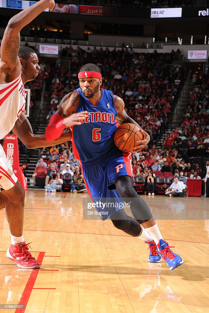 <a gi-track='captionPersonalityLinkClicked' href=/galleries/search?phrase=Josh+Smith+-+Basketball+Player+-+Born+1985&family=editorial&specificpeople=201983 ng-click='$event.stopPropagation()'>Josh Smith</a> #6 of the Detroit Pistons drives against the Houston Rockets on March 1, 2014 at the Toyota Center in Houston, Texas.
