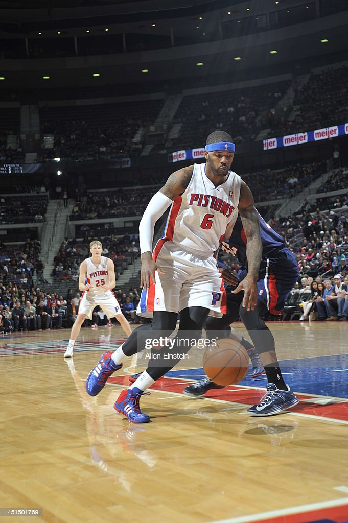 <a gi-track='captionPersonalityLinkClicked' href=/galleries/search?phrase=Josh+Smith+-+Basketball+Player+-+Born+1985&family=editorial&specificpeople=201983 ng-click='$event.stopPropagation()'>Josh Smith</a> #6 of the Detroit Pistons drives to the basket against the Atlanta Hawks on November 22, 2013 at The Palace of Auburn Hills in Auburn Hills, Michigan.