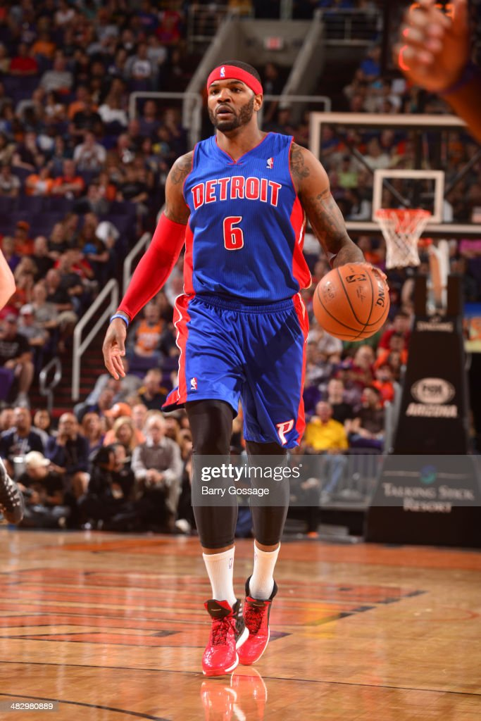 <a gi-track='captionPersonalityLinkClicked' href=/galleries/search?phrase=Josh+Smith+-+Basketball+Player+-+Born+1985&family=editorial&specificpeople=201983 ng-click='$event.stopPropagation()'>Josh Smith</a> #6 of the Detroit Pistons handles the ball against the Phoenix Suns on March 21, 2014 at U.S. Airways Center in Phoenix, Arizona.