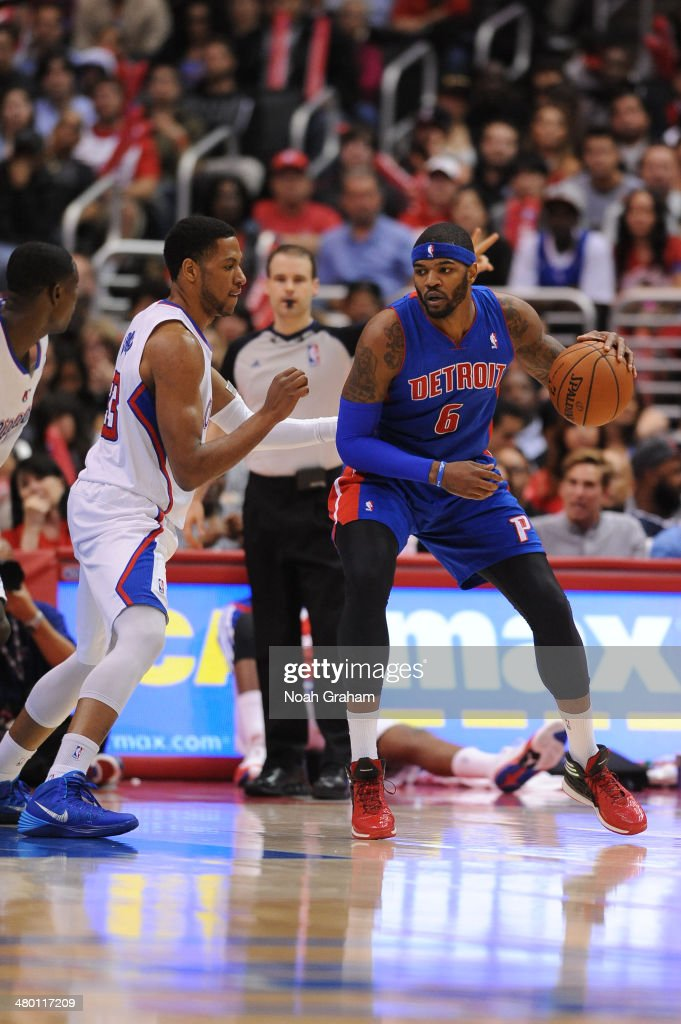 Josh Smith #6 of the Detroit Pistons handles the basketball against the Los Angeles Clippers at STAPLES Center on March 22, 2014 in Los Angeles, California.