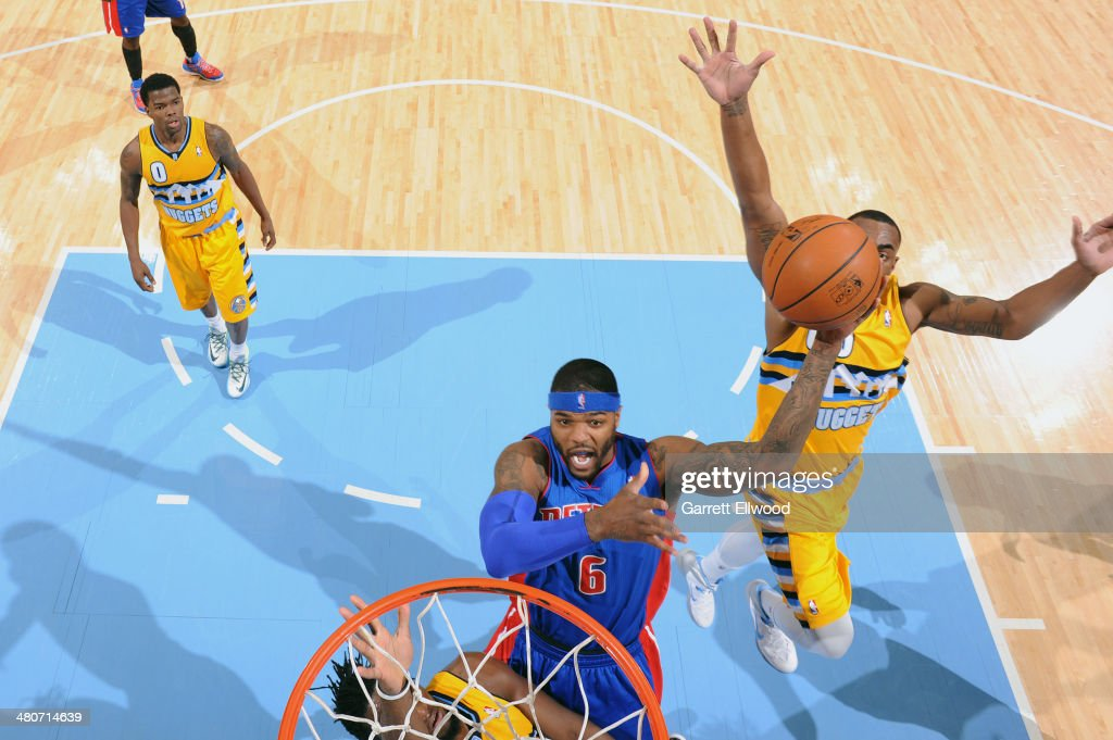<a gi-track='captionPersonalityLinkClicked' href=/galleries/search?phrase=Josh+Smith+-+Basketball+Player+-+Born+1985&family=editorial&specificpeople=201983 ng-click='$event.stopPropagation()'>Josh Smith</a> #6 of the Detroit Pistons shoots against the Denver Nuggets on March 19, 2014 at the Pepsi Center in Denver, Colorado.