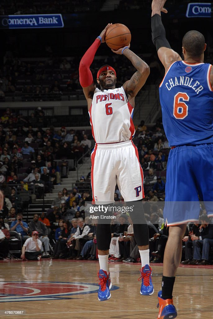 Josh Smith #6 of the Detroit Pistons takes a shot during a game against the New York Knicks on March 3, 2014 at The Palace of Auburn Hills in Auburn Hills, Michigan.