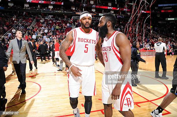 Josh Smith of the Houston Rockets and James Harden of the Houston Rockets celebrate after the game against the Milwaukee Bucks on January 22 2016 at...