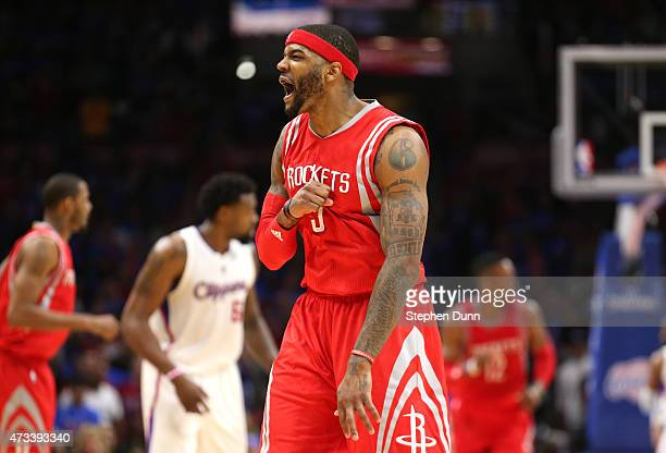 Josh Smith of the Houston Rockets celebrates after making a basket in the fourth quarter against the Los Angeles Clippers during Game Six of the...
