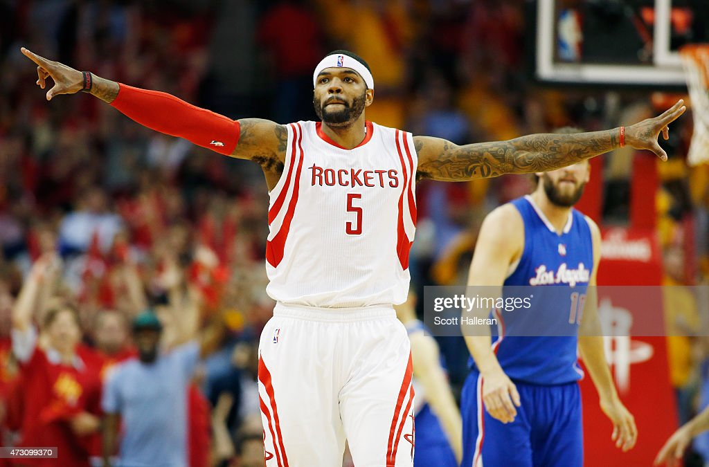 Josh Smith #5 of the Houston Rockets reacts after scoring against the Los Angeles Clippers during Game Five of the Western Conference Semifinals at the Toyota Center for the 2015 NBA Playoffs on May 12, 2015 in Houston, Texas.