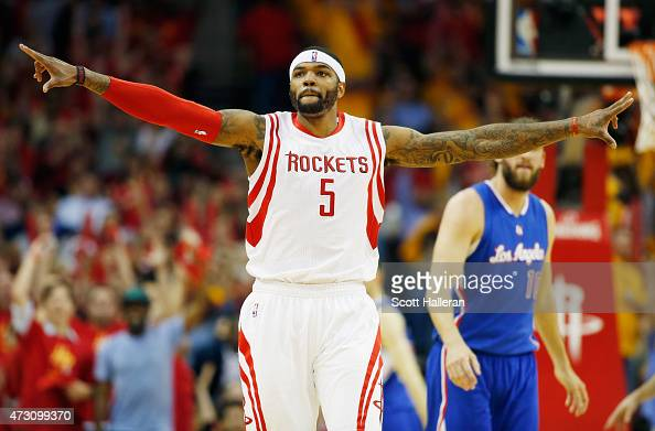 Josh Smith of the Houston Rockets reacts after scoring against the Los Angeles Clippers during Game Five of the Western Conference Semifinals at the...
